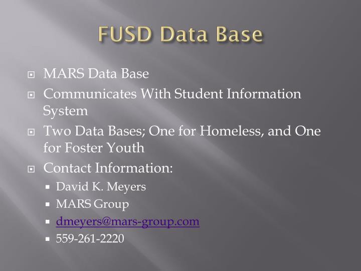 FUSD Data Base