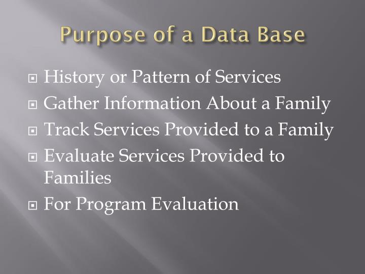 Purpose of a Data Base