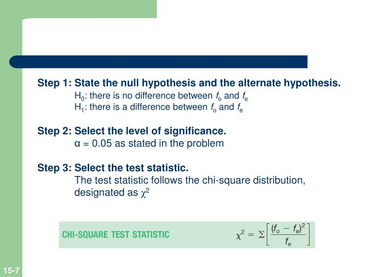Step 1: State the null hypothesis and the alternate hypothesis.