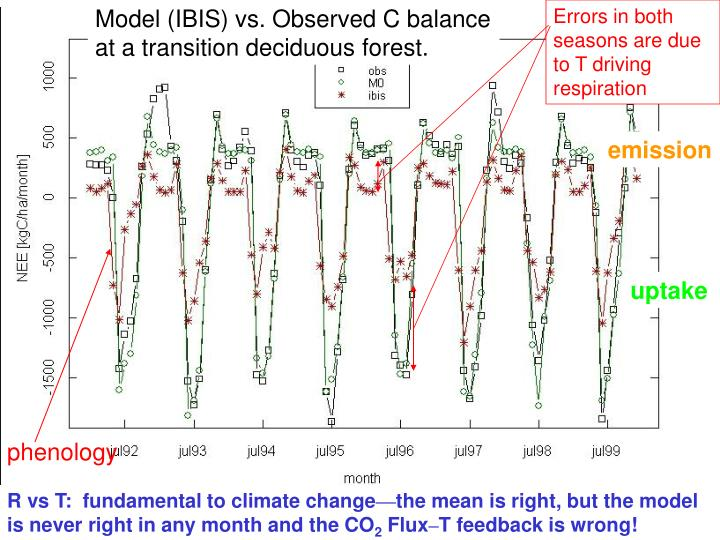 Model (IBIS) vs. Observed C balance at a transition deciduous forest.