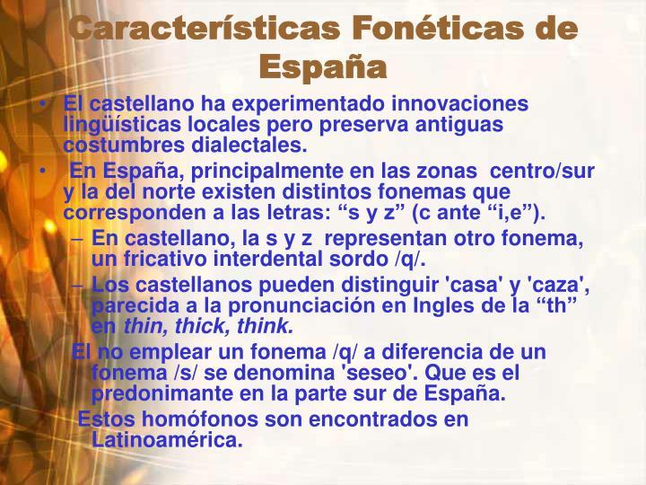 Características Fonéticas de España