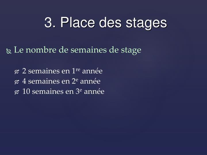 Le nombre de semaines de stage