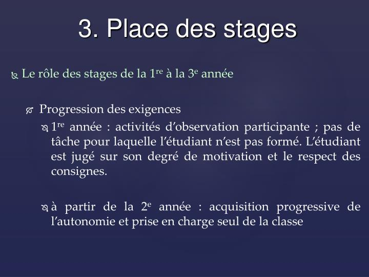 Le rôle des stages de la 1