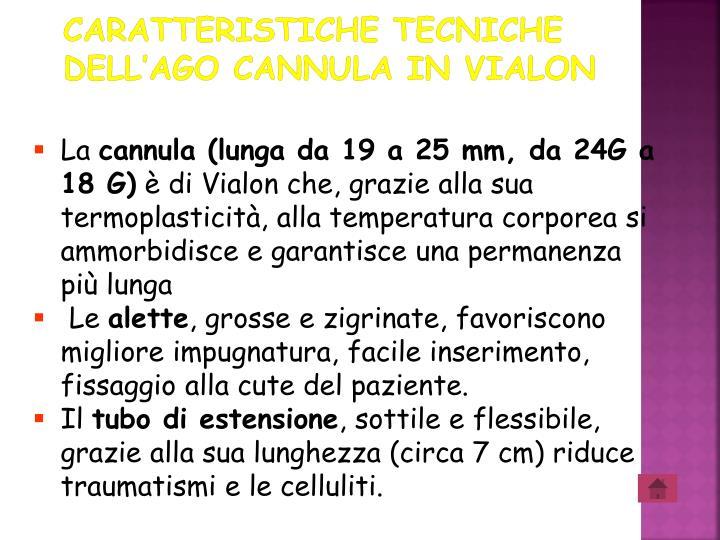 Caratteristiche tecniche dell'ago cannula in Vialon