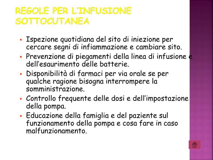 Regole per l'infusione sottocutanea