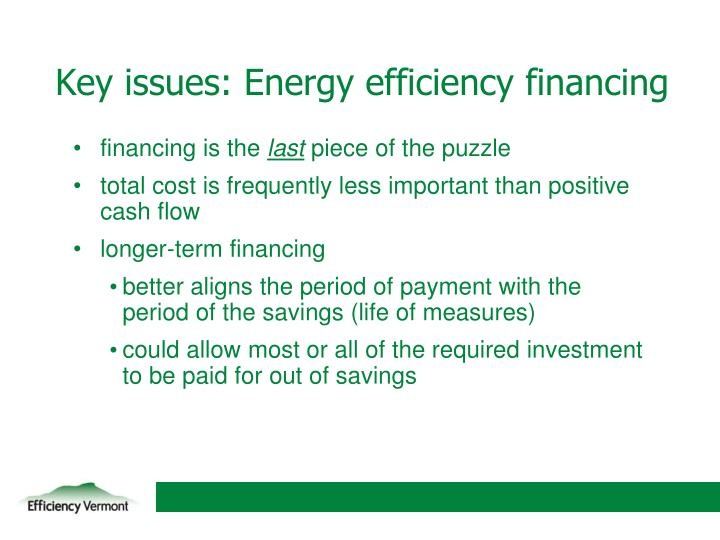 Key issues: Energy efficiency financing