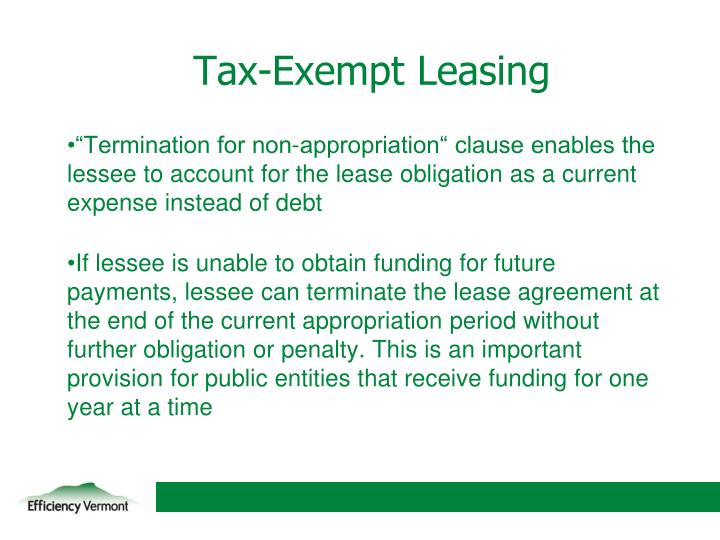 Tax-Exempt Leasing