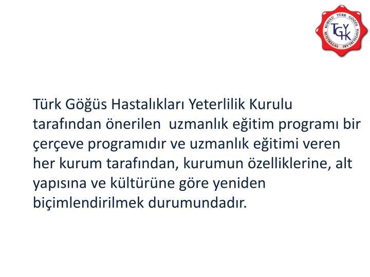 Türk Göğüs Hastalıkları Yeterlilik Kurulu tarafından önerilen  uzmanlık eğitim programı bir çerçeve programıdır ve uzmanlık eğitimi veren her kurum tarafından, kurumun özelliklerine, alt yapısına ve kültürüne göre yeniden biçimlendirilmek durumundadır.