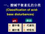 classification of acid base disturbances