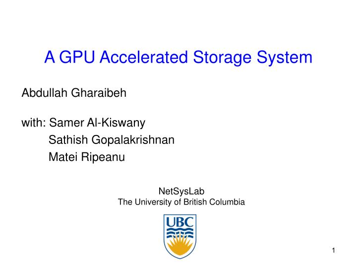 A GPU Accelerated Storage System