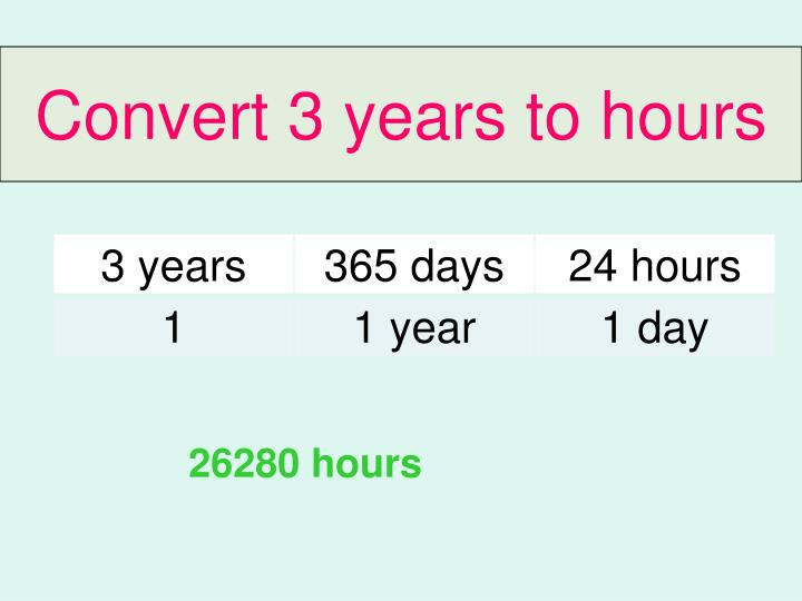 Convert 3 years to hours