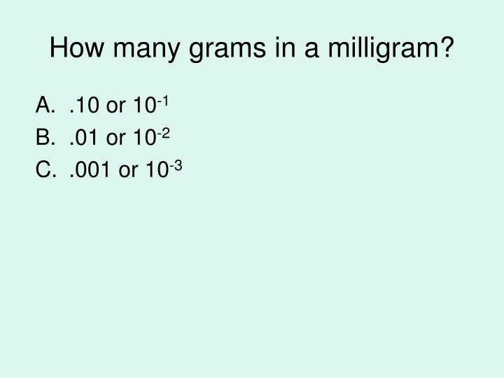 How many grams in a milligram?