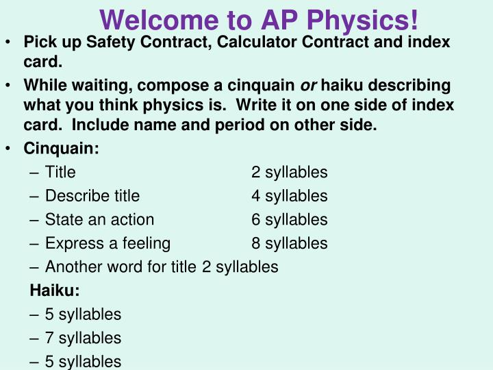 Welcome to AP Physics!