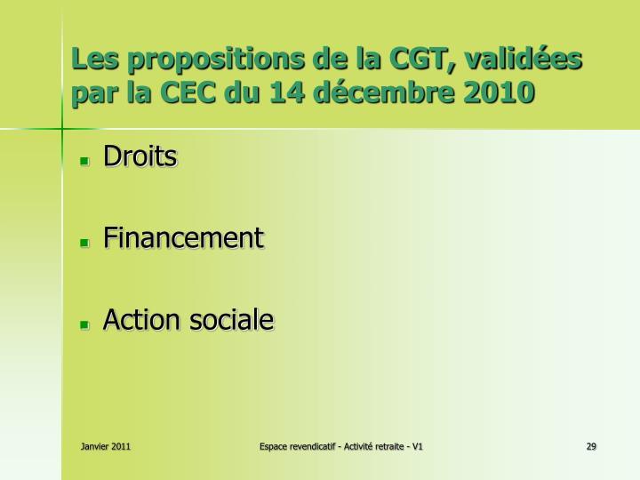 Les propositions de la CGT, validées par la CEC du 14 décembre 2010