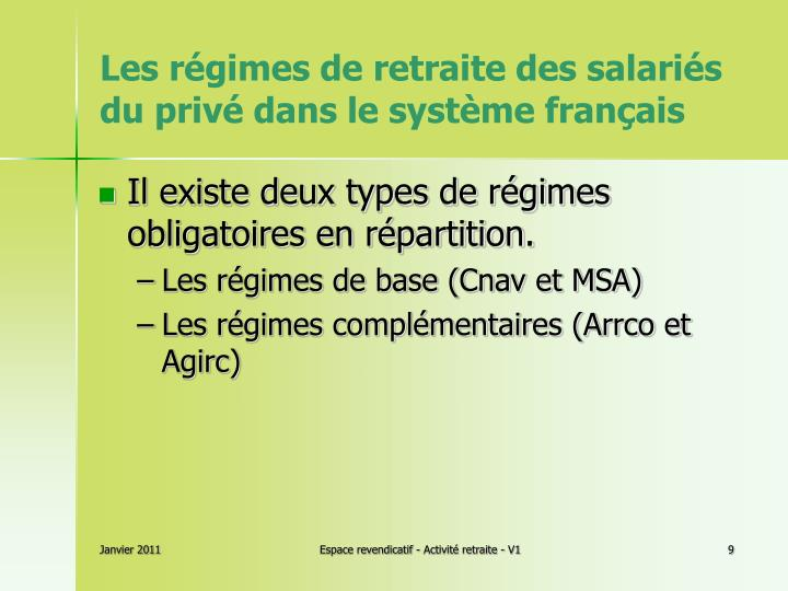 Les régimes de retraite des salariés du privé dans le système français