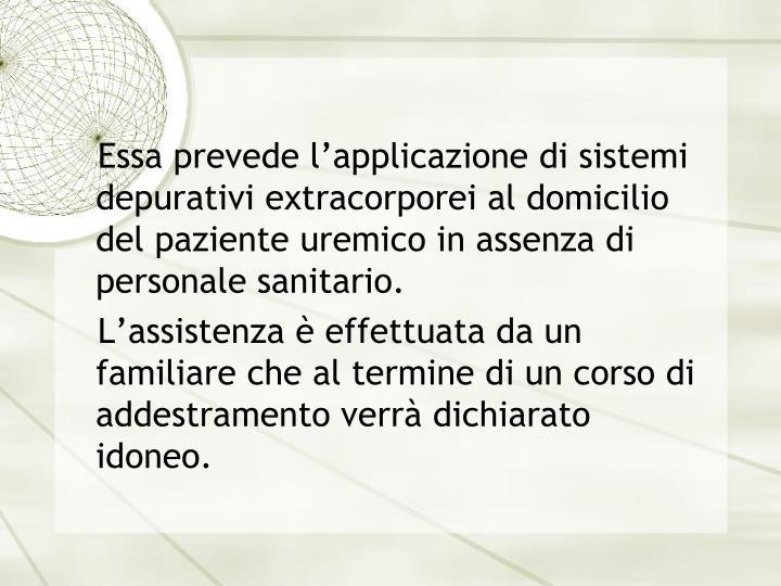 Essa prevede l'applicazione di sistemi depurativi extracorporei al domicilio del paziente uremico in assenza di personale sanitario.