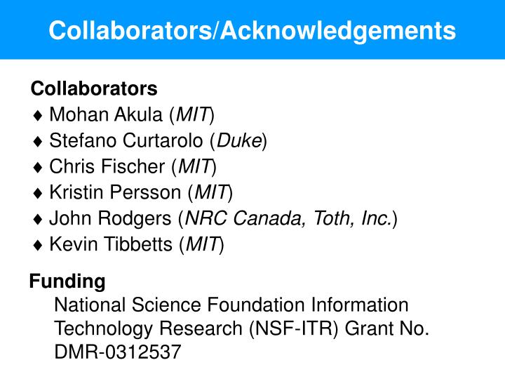 Collaborators/Acknowledgements