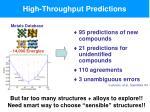 high throughput predictions