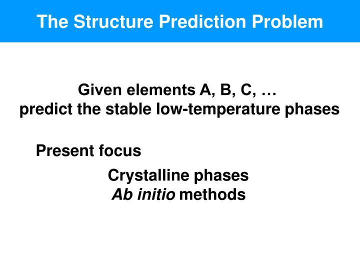 The Structure Prediction Problem