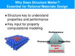 why does structure matter essential for rational materials design