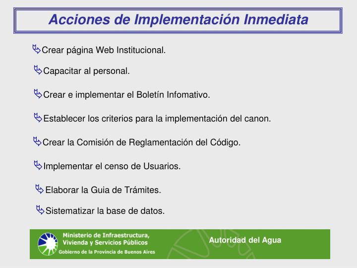 Acciones de Implementación Inmediata
