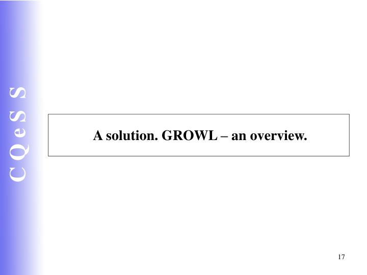A solution. GROWL – an overview.