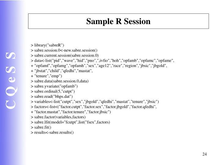 Sample R Session