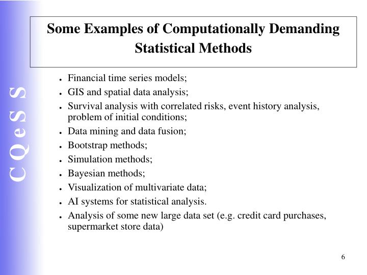 Some Examples of Computationally Demanding Statistical Methods