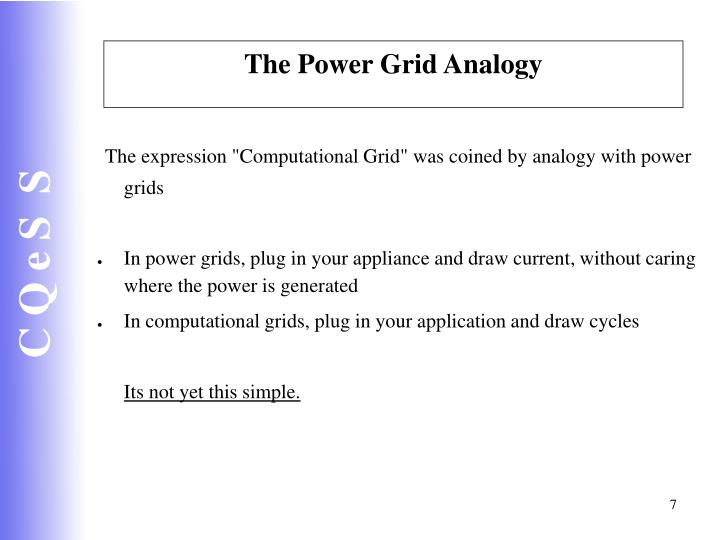 The Power Grid Analogy