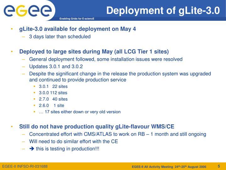 Deployment of gLite-3.0