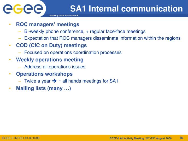 SA1 Internal communication
