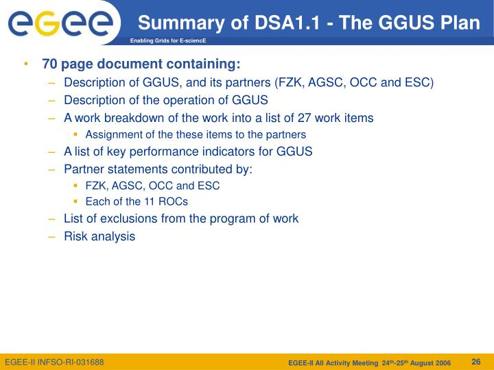 Summary of DSA1.1 - The GGUS Plan