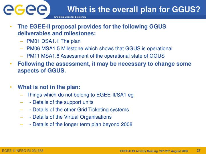 What is the overall plan for GGUS?