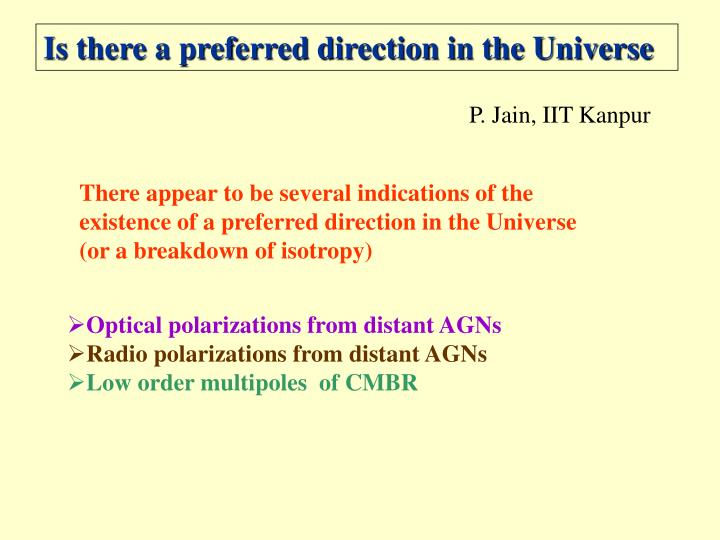 Is there a preferred direction in the Universe