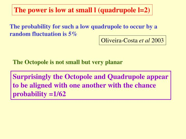 The power is low at small l (quadrupole l=2)