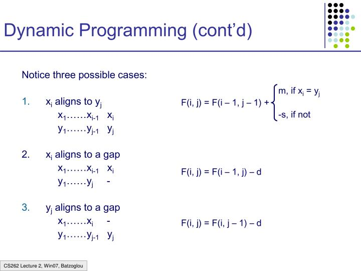 Dynamic Programming (cont'd)