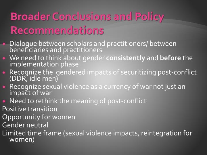 Broader Conclusions and Policy Recommendations