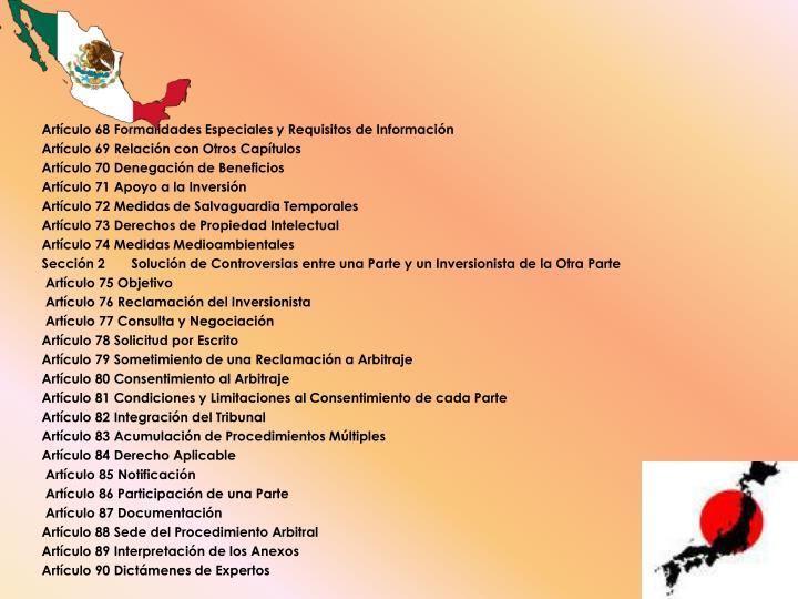 Artículo 68 Formalidades Especiales y Requisitos de Información