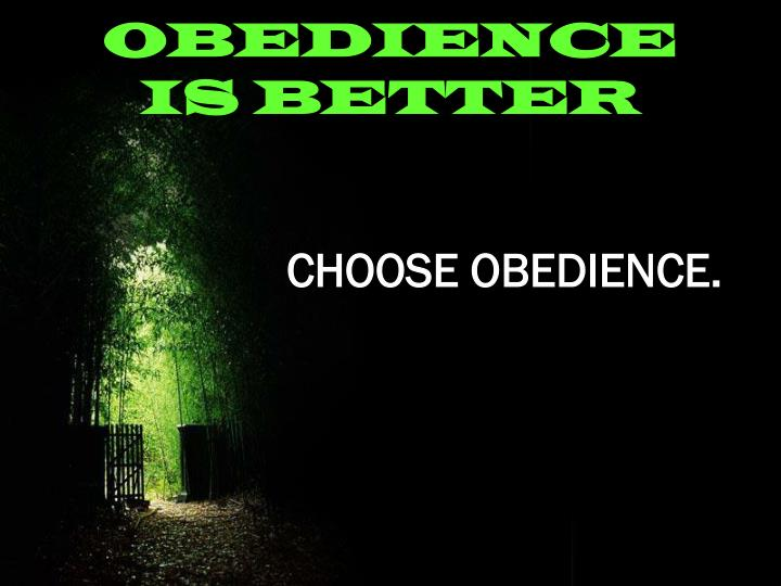 OBEDIENCE IS BETTER