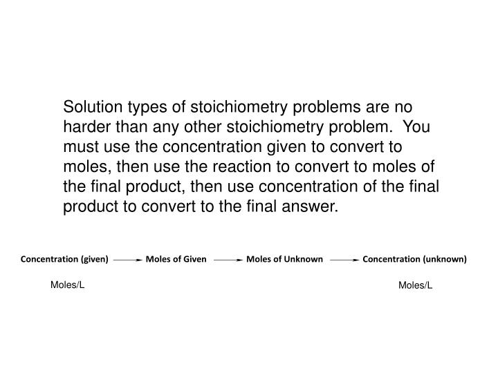 Solution types of stoichiometry problems are no harder than any other stoichiometry problem.  You must use the concentration given to convert to moles, then use the reaction to convert to moles of the final product, then use concentration of the final product to convert to the final answer.