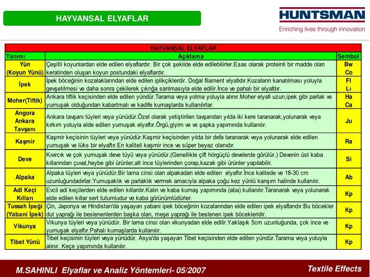 HAYVANSAL ELYAFLAR