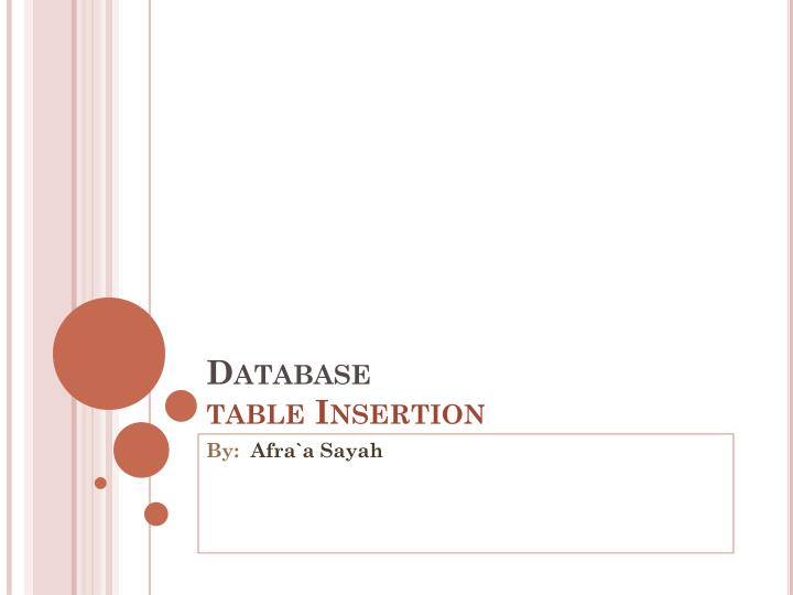 Database table insertion