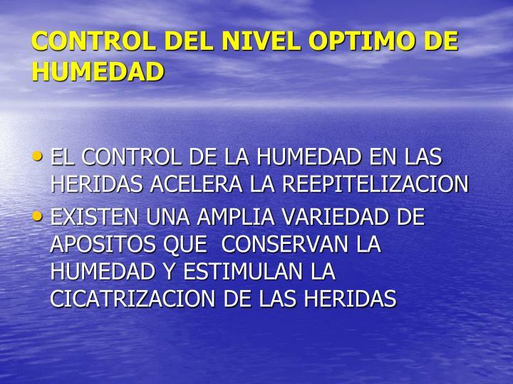 CONTROL DEL NIVEL OPTIMO DE HUMEDAD