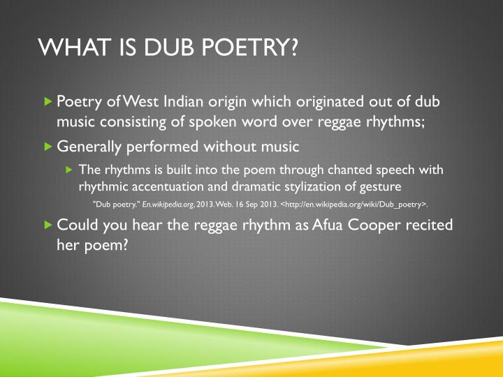 What is Dub Poetry?