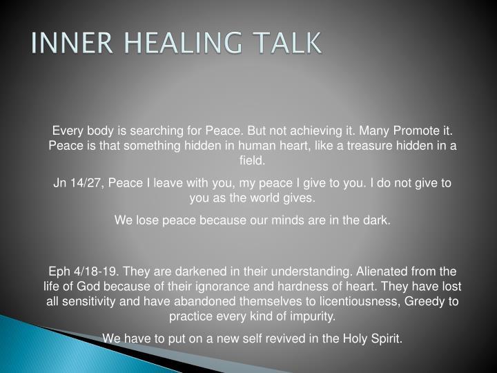 INNER HEALING TALK