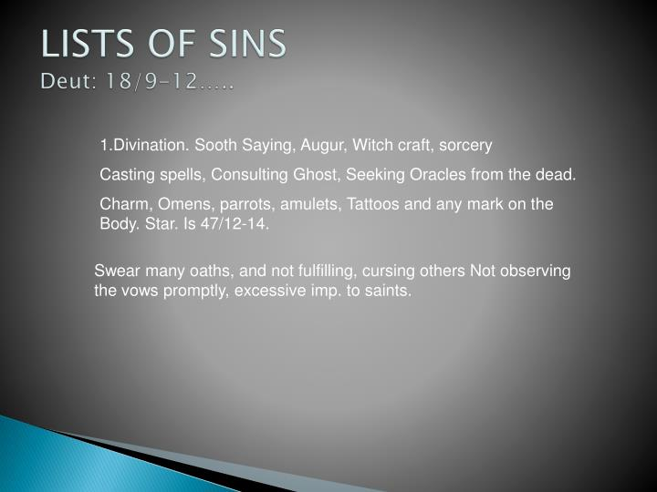 LISTS OF SINS