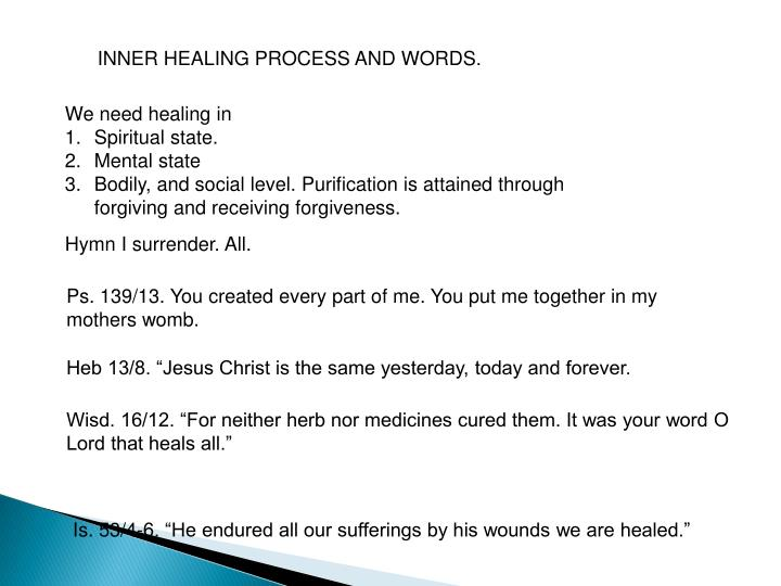 INNER HEALING PROCESS AND WORDS.