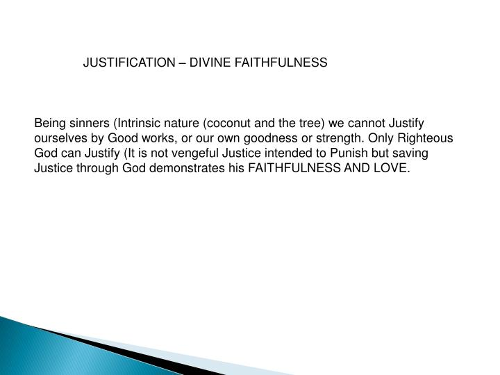JUSTIFICATION – DIVINE FAITHFULNESS