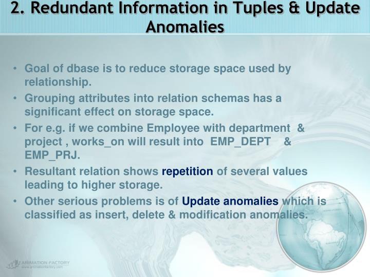 2. Redundant Information in Tuples & Update Anomalies