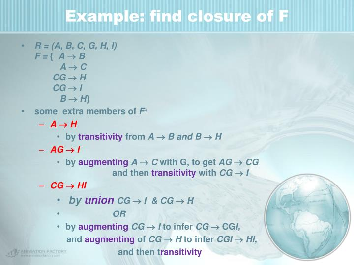 Example: find closure of F